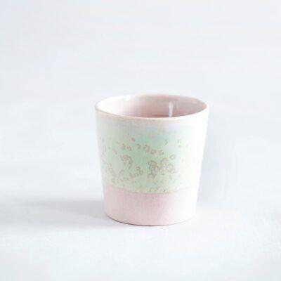 lyserød espressokop krus grøn håndlavet keramik Lena Pedersen porcelæn København