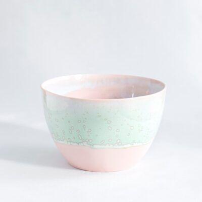 skål mellem høj lyserød grøn håndlavet keramik København Lena Pedersen porcelæn