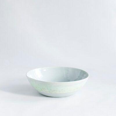 skål mellem lav morgenmadsskål i grøn håndlavet keramik Lena Pedersen København porcelæn
