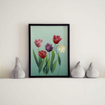 Plakat med blomster